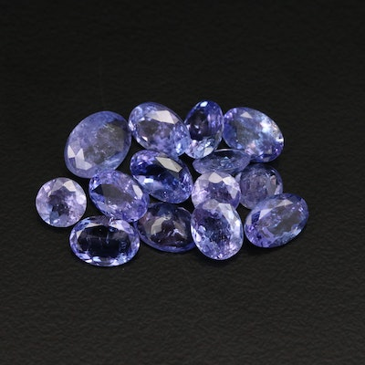 Loose 10.46 CTW Oval and Round Faceted Tanzanites