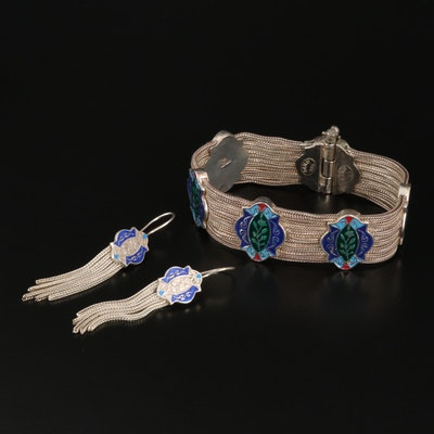 Sterling Champleve Enamel Bracelet and Tassel Earrings Set