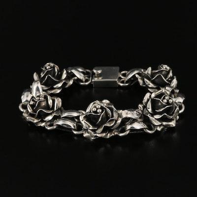 Sterling Silver Flower Bud Bracelet