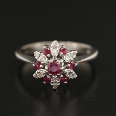 14K Ruby and Diamond Tiered Ring