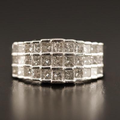 14K 1.65 CTW Diamond Three Row Band