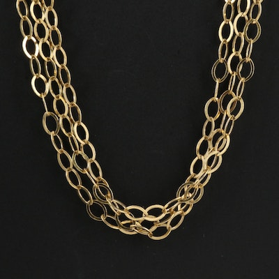 Sterling Silver Triple Strand Cable Link Necklace