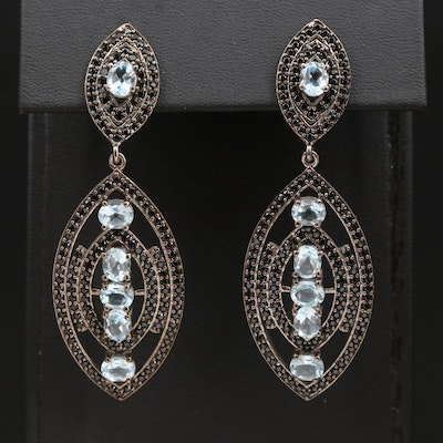 Sterling Silver Topaz and Cubic Zirconia Navette Earrings
