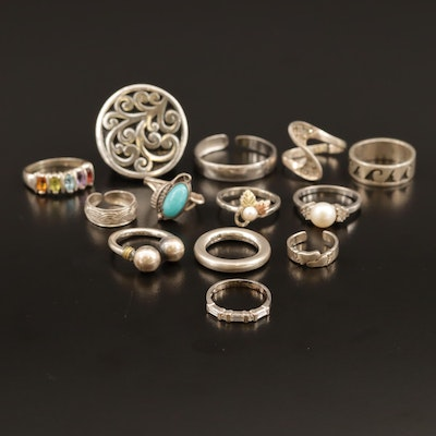 Sterling Rings Including Faux Pearls, Topaz, Citrine and Peridot