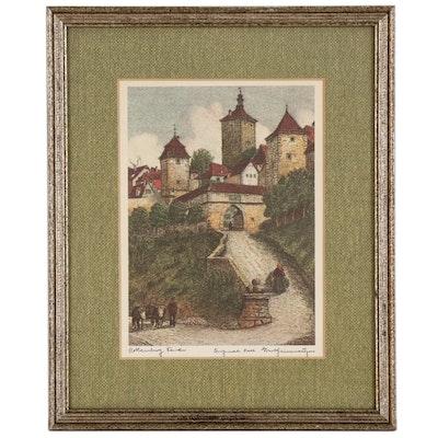 Giclée after Ernst Geissendorfer of Rothenburg ob der Tauber, Late 20th Century