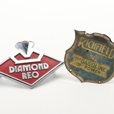 """Richfield """"The Gasoline of Power"""" and Diamond Reo Metal Advertising Emblems"""