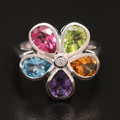 Sterling Silver Diamond and Gemstone Flower Ring