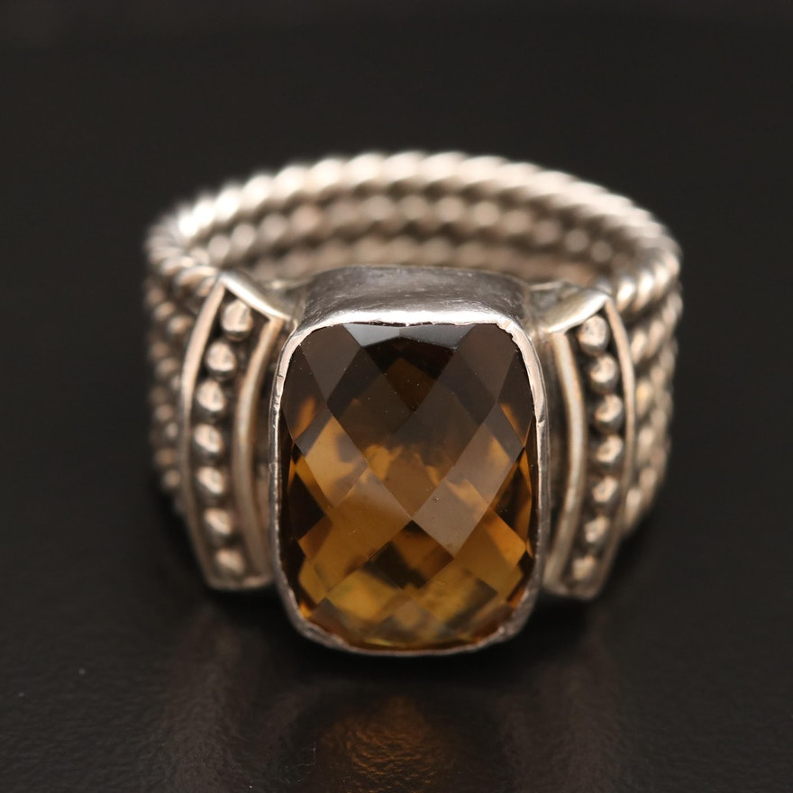 Mike Thompson Navajo Diné Sterling Silver Citrine Ring