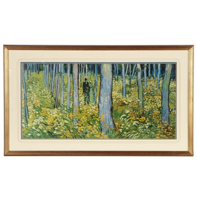 """Offset Lithograph after Vincent Van Gogh """"Forest Interio"""", Late 20th Century"""