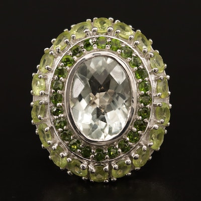 Sterling Prasiolite, Peridot and Diopside Ring