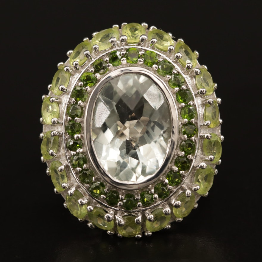 Sterling Prasiolite, Peridot and Diopside Ring