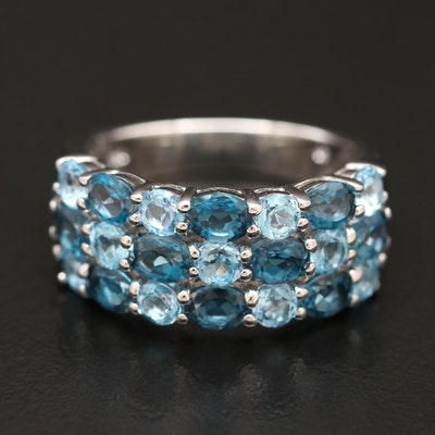 Sterling Silver Topaz Multi-Row Ring