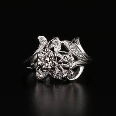 Vintage Diamond Openwork Ring with Floral Design