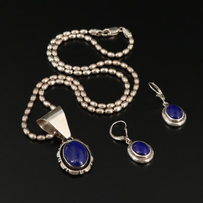Sterling Silver Lapis Lazuli Necklace and Earrings