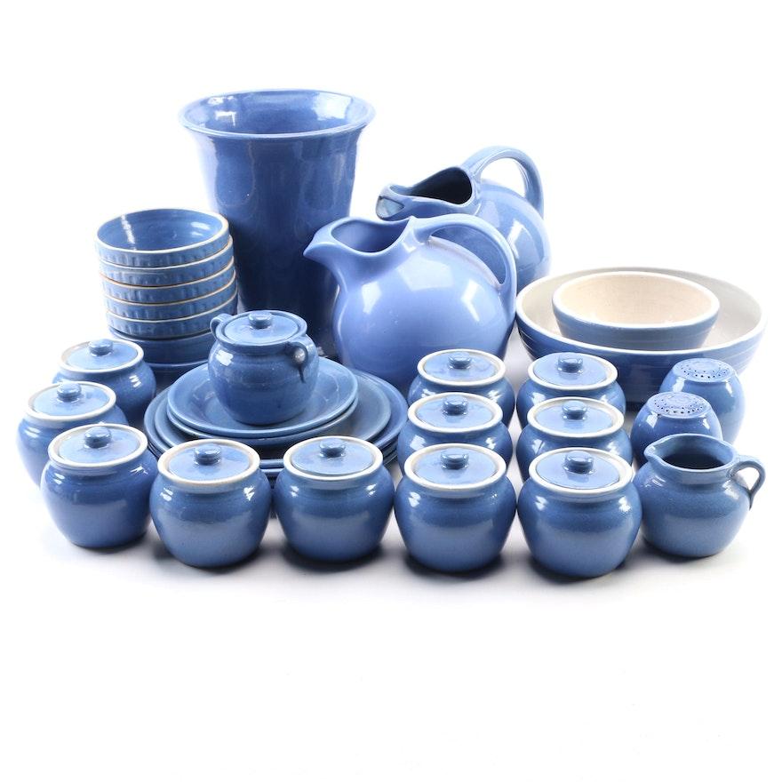 UHL Blue Glaze Pottery Serveware, Dinnerware and Vase