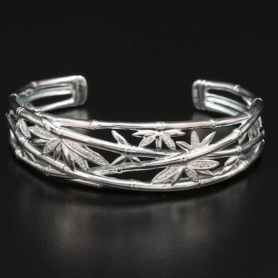 Fine Silver Diamond Bamboo Cuff