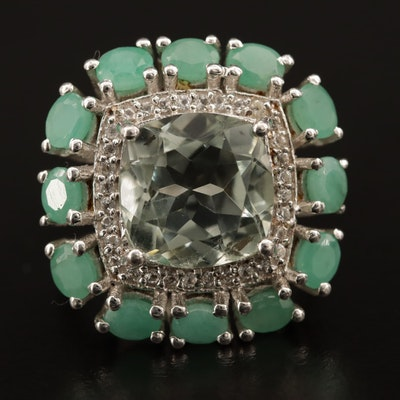 Sterling Prasiolite Ring with Green Beryl and White Sapphire Halos