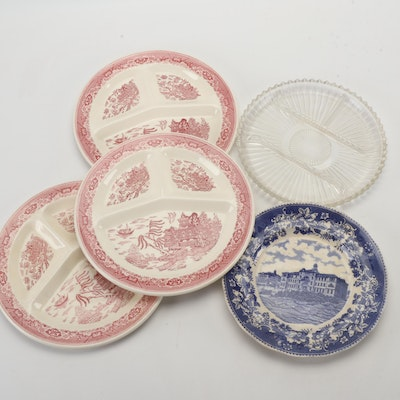 "Koch & Brannstein Cabinet Plate with Royal China ""Pink Willow"" and Glass Plate"