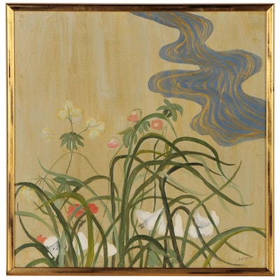 Pat Gastreich Abstract Oil Painting of Flowers and River