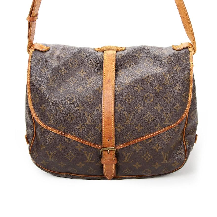 Louis Vuitton Saumur Messenger Bag in Monogram Canvas and Vachetta Leather