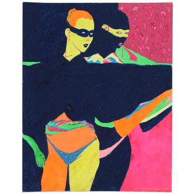 "Robert W. ""Hass"" Hasselhoff Figural Acrylic Painting"