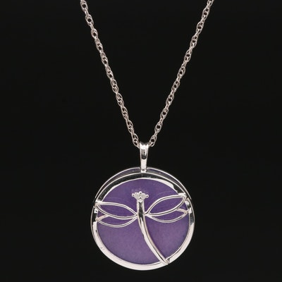 Sterling Quartz and Diamond Dragonfly Pendant Necklace