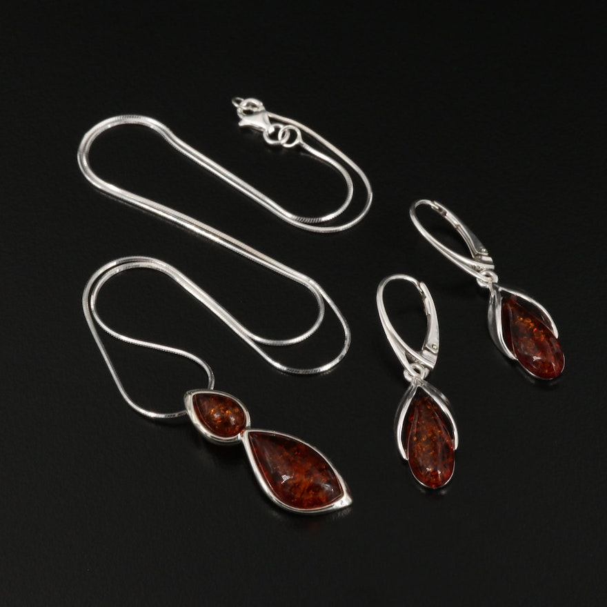 Sterling Silver Amber Necklace and Earrings