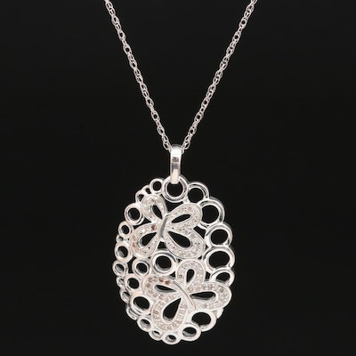 Sterling and Fine Silver Diamond Butterfly Necklace
