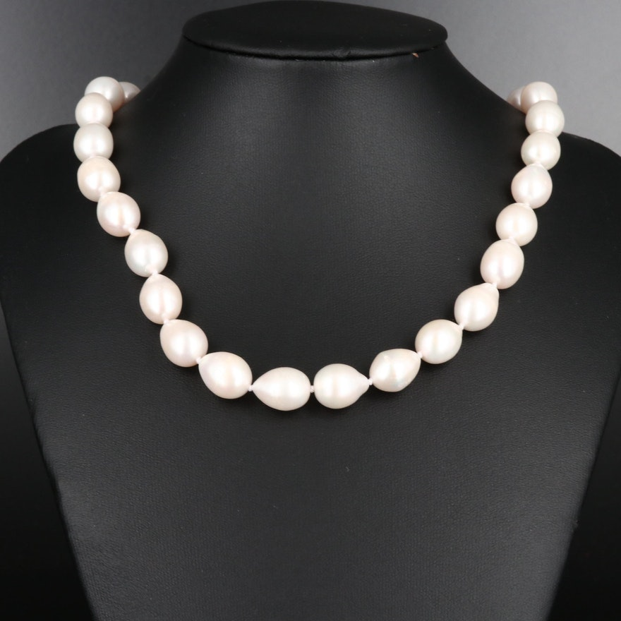 Baroque Pearl Knotted Necklace with 14K Clasp