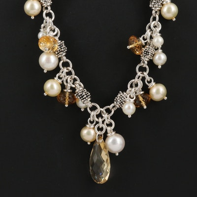 Michael Dawkins Sterling Silver Citrine and Pearl Necklace
