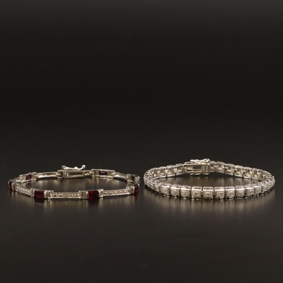 Bracelets with Diamond and Garnet Featuring Sterling Silver