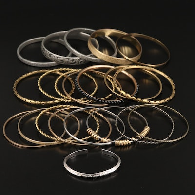 Collection of Bangles and Stampwork Cuff with Openwork Designs