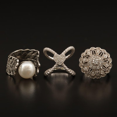 """Sterling Rings Featuring Judith Ripka Heart """"X"""" Ring"""
