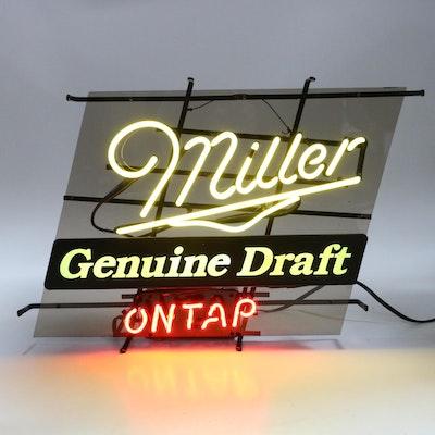 Miller Genuine Draft On Tap Neon Illuminated Advertising Sign