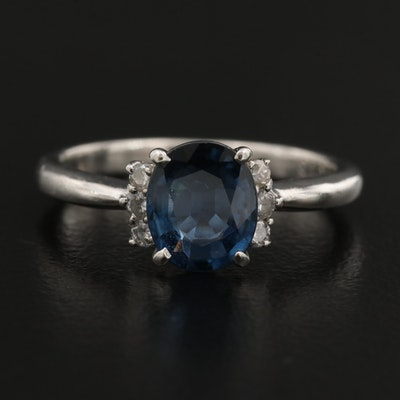 Platinum 1.32 CT Sapphire and Diamond Ring