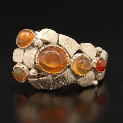 14K Fire Opal Asymmetrical Bezel Set Custom Ring