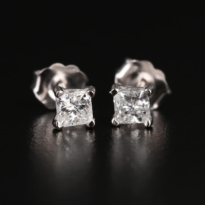 14K Gold Princess Cut 0.59 CTW Diamond Stud Earrings