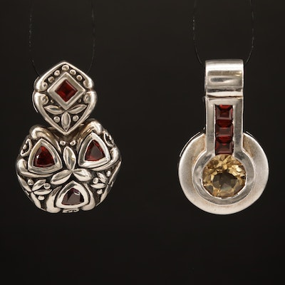 Sterling Silver Citrine and Garnet Pendants