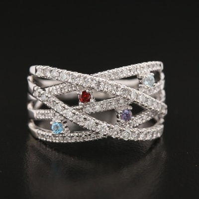 14K 1.01 CTW Diamond Crossover Ring with Mixed Gemstone Accents