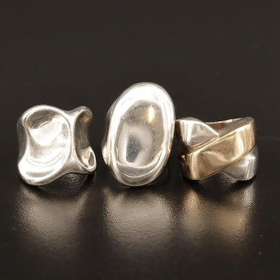Sterling Rings in Dome, X and Concave Designs with 14K Accent