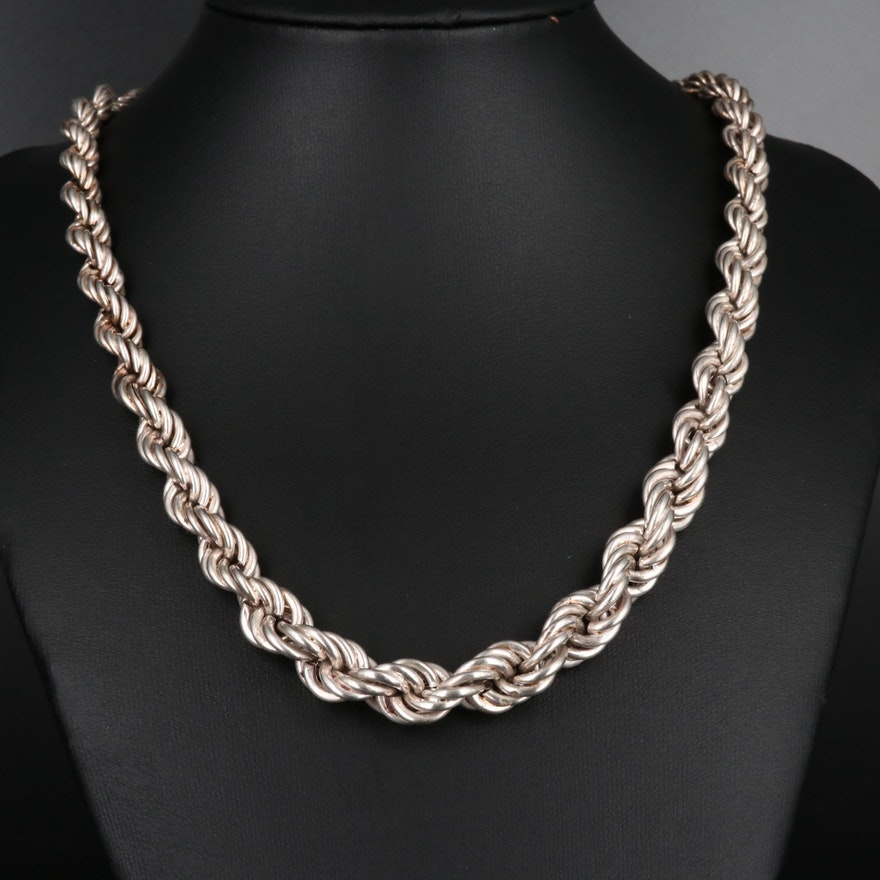 Sterling Silver Graduated  Rope Necklace