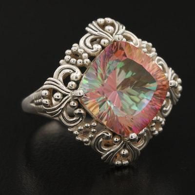 Sterling Silver Quartz Openwork Ring