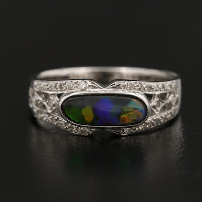 14K Boulder Opal and Diamond Ring