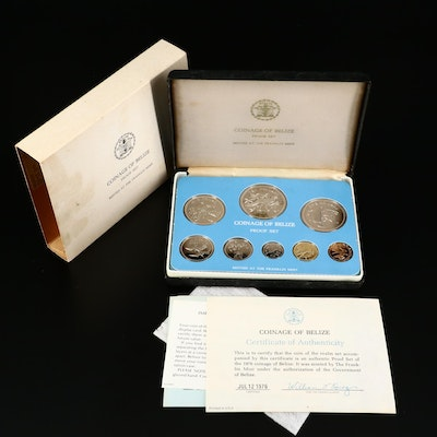 1976 Coinage of Belize Proof Set from the Franklin Mint