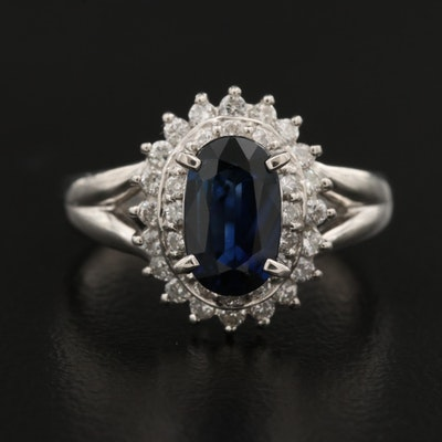 Platinum 1.05 CT Sapphire and Diamond Ring