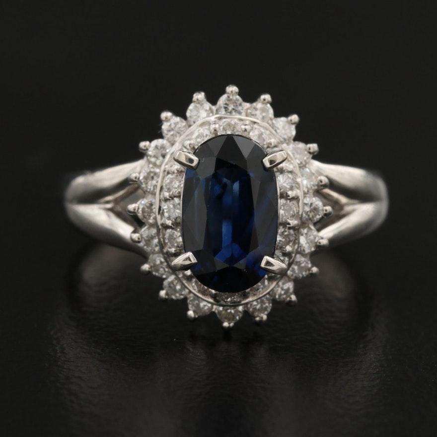 Platinum 1.05 CT Sapphire and Diamond Ring
