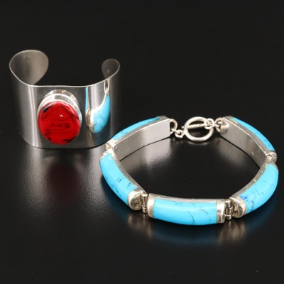Sterling Silver Imitation Turquoise Bracelet with Resin Accented Cuff Bracelet