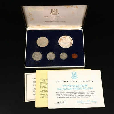 1974 Coinage of The British Virgin Islands Proof Set from the Franklin Mint