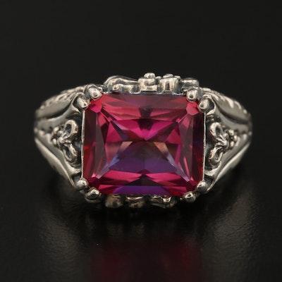 Sterling Silver Quartz Floral Ring