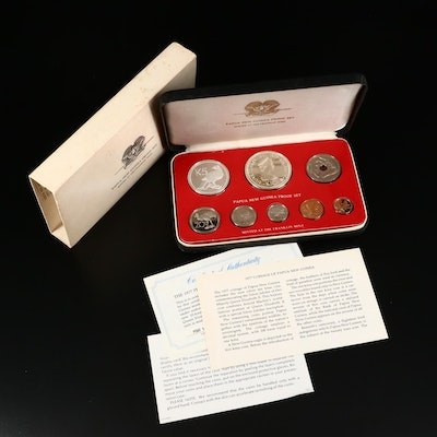 1974 Coinage of Papua New Guinea Proof Set from the Franklin Mint